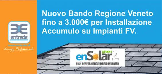 Fotovoltaico con accumulo, dalla Regione Veneto incentivi ai privati